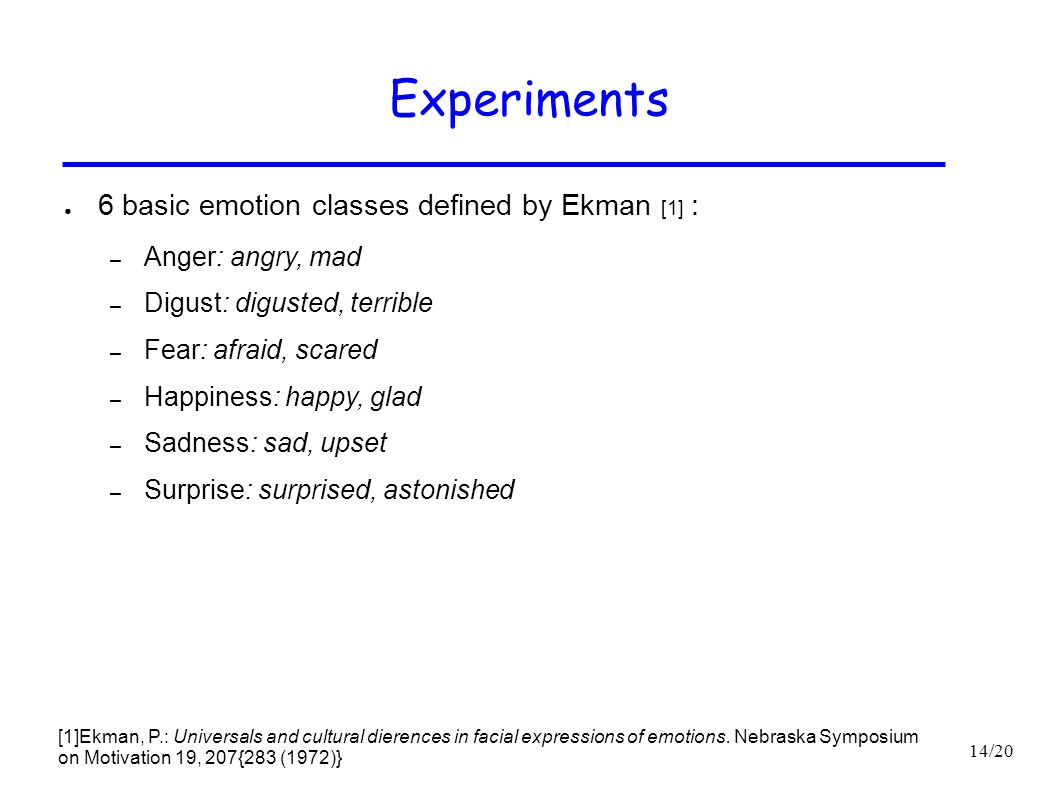 Experiments 6 basic emotion classes defined by Ekman [1] :